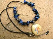 Sodalite necklace with Indalo